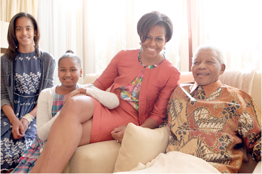 21 June 2011: Michelle Obama and daughters Malia and Sasha met with a very bubbly
